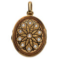 Estate Jewelry:Pendants and Lockets, Cultured Pearl, Enamel, Gold Pendant-Locket, French. ...