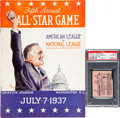 Baseball Collectibles:Programs, 1937 All-Star Game Program & Ticket Stub, PSA Authentic....