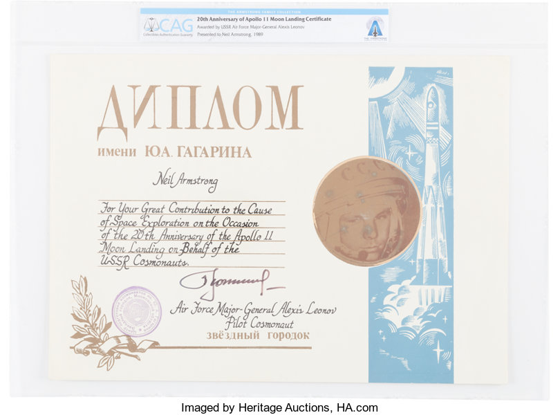Apollo 11 20th Anniversary Large Soviet Certificate Signed Lot