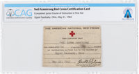 Neil Armstrong's 1943 Red Cross First Aid Instruction Card Directly From The Armstrong Family Collection™, Certified and...