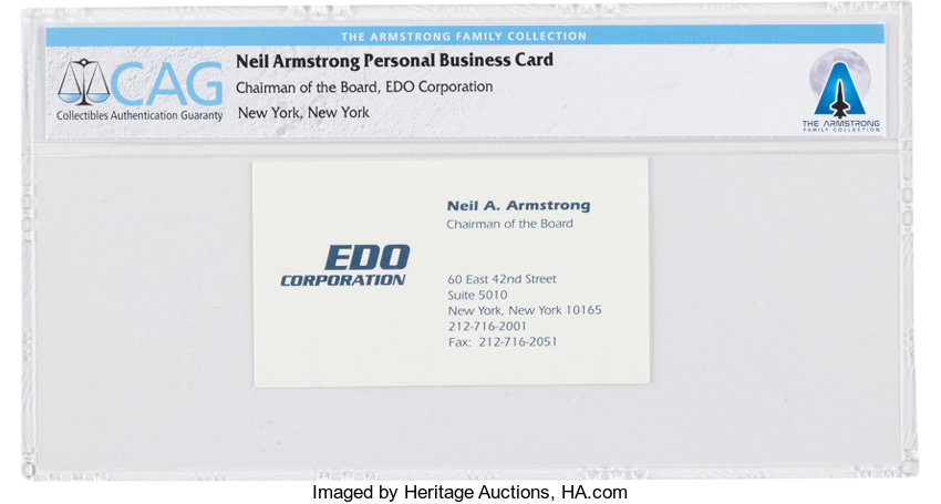 Neil armstrongs business card as edo corporations chairman of explorersspace exploration neil armstrongs business card as edo corporations chairm reheart Image collections