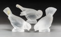 Decorative Arts, French:Other , Three Lalique Frosted Crystal Sparrow Figurines, p...