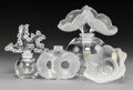 Decorative Arts, French:Other , A Group of Four Lalique Crystal Table Accessories, post-1945. Marksto Les Anemones pattern perfume bottle: Lalique Fr...(Total: 6 Items)