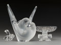 Decorative Arts, French:Other , Two Lalique Crystal Table Accessories, post-1945. Marks toSylvie pattern vase: Lalique, (R in circle),France. ... (Total: 3 Items)