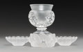 Decorative Arts, French:Other , Four Lalique Clear and Frosted Crystal Table Accessories,post-1945. Marks: Lalique France. 4-1/2 x 3-5/8 inches (11.4x... (Total: 4 Items)