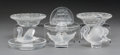 Decorative Arts, French:Other , A Group of Six Lalique Crystal Table Accessories, post-1945. Marks:Lalique France. 2-1/2 x 3-5/8 inches (6.4 x 9.2 cm) ...(Total: 6 Items)