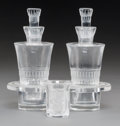Decorative Arts, French:Other , A Three-Piece Lalique Bourgueil Pattern Crystal Cruet Setwith an Enfants Pattern Crystal Shot Glass... (Total: 4Items)