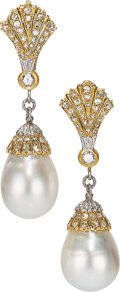 Estate Jewelry:Earrings, South Sea Cultured Pearl, Diamond, Gold Earrings, Buccellati. ...