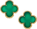 Estate Jewelry:Earrings, Chrysoprase, Gold Earrings, Van Cleef & Arpels, French. ...
