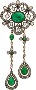 Estate Jewelry:Brooches - Pins, Emerald, Diamond, Silver-Topped Gold Brooch. ...