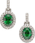 Estate Jewelry:Earrings, Tsavorite Garnet, Diamond, White Gold Earrings. ...