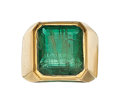 Estate Jewelry:Rings, Emerald, Gold Ring The ring features an emeral...
