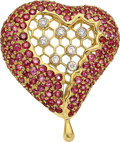 Estate Jewelry:Brooches - Pins, Ruby, Diamond, Gold Pendant-Brooch, Henryk Kaston, after SalvadorDali. ...