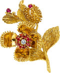 Estate Jewelry:Brooches - Pins, Diamond, Ruby, Gold Brooch, Tiffany & Co.. ...