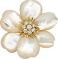 Estate Jewelry:Brooches - Pins, Diamond, Mother-of-Pearl, Gold Brooch, Van Cleef & Arpels, French. ...