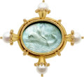 Estate Jewelry:Brooches - Pins, Venetian Glass Intaglio, Mother-of-Pearl, Cultured Pearl, Gold Brooch, Elizabeth Locke. ...