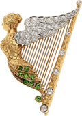 Estate Jewelry:Brooches - Pins, Antique Diamond, Demantoid Garnet, Gold Brooch. ...