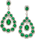 Estate Jewelry:Earrings, Emerald, Diamond, White Gold Earrings . ...