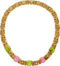 Estate Jewelry:Necklaces, Pink Tourmaline, Peridot, Gold Necklace, Bvlgari . ...