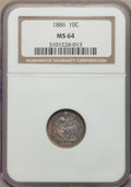 Seated Dimes: , 1886 10C MS64 NGC. NGC Census: (162/144). PCGS Population: (160/145). MS64. Mintage 6,376,684. ...