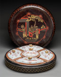 Asian:Chinese, A Large Chinese Export-Style Lacquered Box with Five-Piece Porcelain Sweet Meat Dish Inserts. 7-5/8 x 22 inches (19.4 x 55.9... (Total: 11 Items)