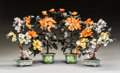 Asian:Chinese, Two Pairs of Chinese Hardstone Trees in Cloisonné EnamelJardinières. 17-1/2 x 9 x 9 inches (44.5 x 22.9 x 22.9 cm)(tallest... (Total: 4 Items)