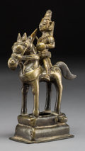 Asian:Chinese, A Tibetan Bronze Deity on Horseback. 7-1/2 x 4-3/4 x 2-1/2 inches(19.1 x 12.1 x 6.4 cm). ... (Total: 2 Items)