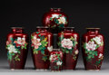 Asian:Japanese, Six Japanese Red Cloisonné Vases, 20th century. Marks: (various).7-1/8 inches (18.1 cm) (taller examples). ... (Total: 6 Items)