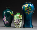 Asian:Japanese, Three Japanese Cloisonné Vases, 20th century. Marks: (various);SILVER. 6 inches (15.2 cm) (tallest)
