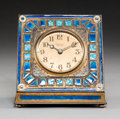 Clocks & Mechanical:Clocks, A Tiffany Furnaces Gilt Bronze and Enamel Desk Clock, Corona, New York, circa 1910. Marks to underside: (LCT-logotype), LO... (Total: 2 Items)