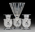 Decorative Arts, French:Other , A Lalique Mesanges Pattern Clear and Frosted Crystal Vasewith Candlesticks, post-1945. Marks: Lalique France... (Total: 5Items)