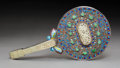 Asian:Chinese, A Chinese Cloisonné-Enameled and Jade-Inlaid Silver Vanity Mirror,circa 1910. 10-1/4 x 5-1/4 x 3/4 inches (26.0 x 13.3 x 1....