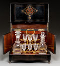 Decorative Arts, French:Other , A Napoleon III Kingwood and Brass-Inlaid Ebonized Hardwood Cave àLiqueur, France, second half 19th century . 10-3/8 x 12-3/...(Total: 10 Items)