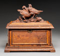Decorative Arts, Continental:Other , A Black Forest Carved Walnut Cigar Chest, circa 1880. 13 x 14-1/2 x8-1/4 inches (33.0 x 36.8 x 21.0 cm). ...
