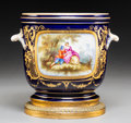 Ceramics & Porcelain, Continental:Modern  (1900 1949)  , A Sèvres-Style Polychromed and Gilt Porcelain Cache Pot on Gilt Bronze Stand, France, late 19th century . Marks: (pseudo Sèv...