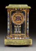 Decorative Arts, French:Other , An Onyx, Gilt Bronze, and Champlevé Enamel Table Clock, France,late 19th century . Marks to mechanism: A1, France, 208 4...