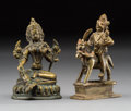 Asian, Two Small Tibetan Bronze Deities. 4-1/2 inches (11.4 cm) (taller).... (Total: 3 Items)