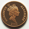 Alderney, Alderney: Elizabeth II gold Piefort 5 Pounds 2002 Proof UNC, ...