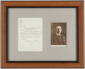 Books:Mystery & Detective Fiction, Arthur Conan Doyle. Autograph Letter, Initialed. The Hague, TheNetherlands: Oct[ober] 11, [1929]. Original letter on Hotel ...