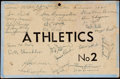 Autographs:Others, 1945 Philadelphia Sports Writers Dinner Multi-Signed Table Card (28Signatures) with Chief Bender....