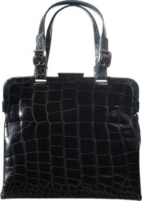 "Prada Dark Green Crocodile Bag with Gunmetal Hardware Condition: 2 8.5"" Width x 7.5"" Height x 3"""