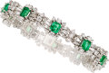 Estate Jewelry:Bracelets, Emerald, Diamond, White Gold Bracelet . ...