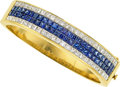 Estate Jewelry:Bracelets, Diamond, Sapphire, Gold Bracelet The hinged ba...
