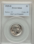 Buffalo Nickels: , 1929-D 5C MS64 PCGS. PCGS Population: (629/285). NGC Census: (346/78). CDN: $250 Whsle. Bid for problem-free NGC/PCGS MS64....