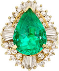 Estate Jewelry:Rings, Colombian Emerald, Diamond, Gold Ring The ring...