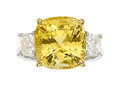 Estate Jewelry:Rings, Yellow Sapphire, Diamond, Platinum, Gold Ring. ...