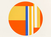 Ilya Bolotowsky (1907-1981) Multicolored Tondo, n.d Silkscreen in colors on Rives paper 21-3/4 x