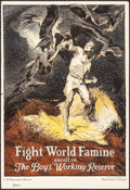 "Movie Posters:War, World War I Propaganda (Department of Labor, 1917). U.S. EmploymentService Poster (18.75"" X 27.5"") ""Fight World Famine."" Wa..."