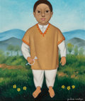 Fine Art - Painting, American, Attributed to Gustavo Montoya (Mexican, 1905-2003). Boy inOrange Vest. Oil on canvas. 24 x 20 inches (61.0 x 50.8 cm)....