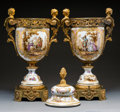Decorative Arts, Continental:Other , A Pair of Continental Gilt Bronze-Mounted Painted Porcelain Urns,circa 1900. Marks: (pseudo Meissen mark). 28-1/4 x 14 x 8-...(Total: 2 Items)